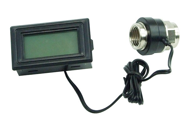 Thermosensor In-Line 2x G1/4 Innengewinde mit Display (blau)